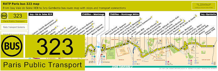 Paris Bus Line 323 Map With Stops