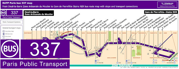 Paris Bus Line 337 Map With Stops