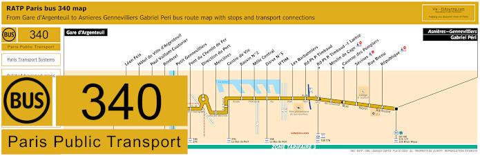 Paris Bus Line 340 Map With Stops