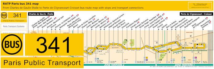 Paris Bus Line 341 Map With Stops