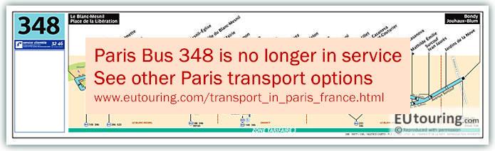 Paris Bus Line 348 Map With Stops