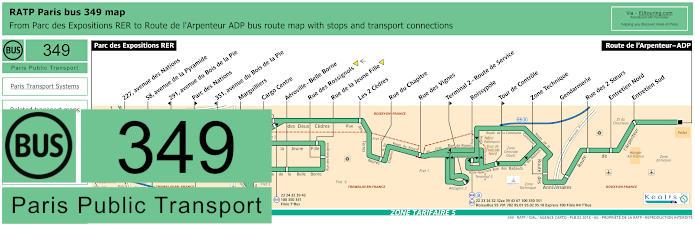 Paris Bus Line 349 Map With Stops