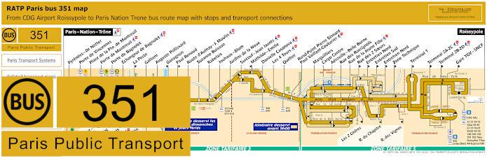 Paris Bus Line 351 Map With Stops