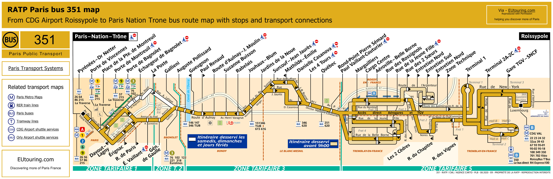 ratp route maps for paris bus lines 350 through to 359