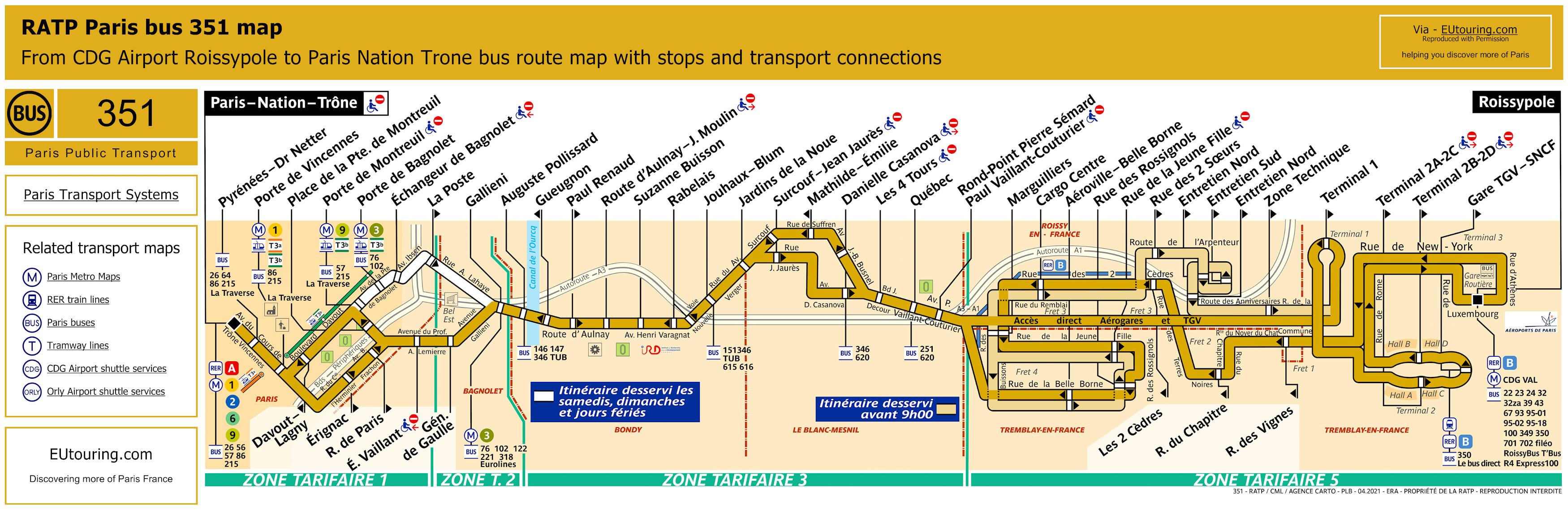 Ratp route maps for paris bus lines 350 through to 359 - Bus 351 paris ...