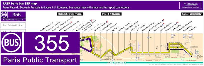 Paris Bus Line 355 Map With Stops