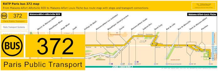 Paris Bus Line 372 Map With Stops