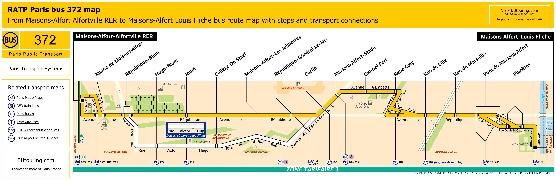 RATP route maps for Paris bus lines 370 through to 379