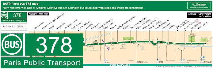 Paris Bus Line 378 Map With Stops