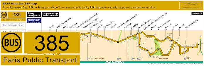 Paris Bus Line 385 Map With Stops