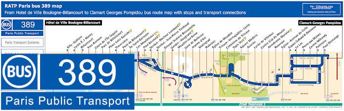 Paris Bus Line 389 Map With Stops