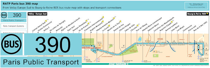 Paris Bus Line 390 Map With Stops