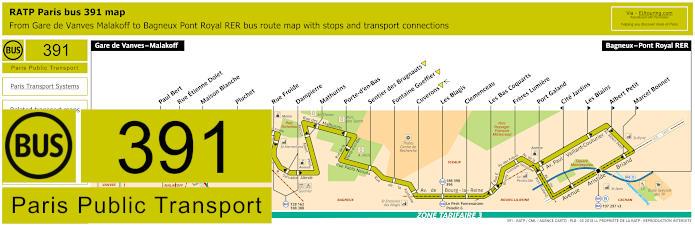 Paris Bus Line 391 Map With Stops