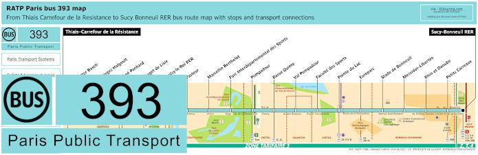 Paris Bus Line 393 Map With Stops