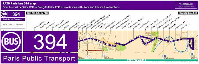 Paris Bus Line 394 Map With Stops