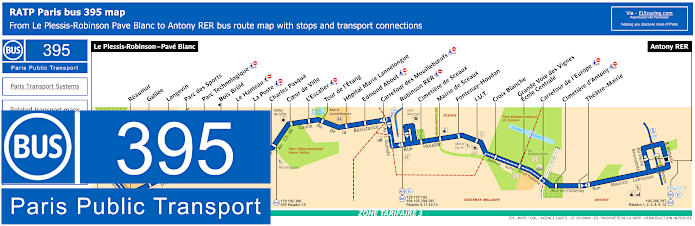 Paris Bus Line 395 Map With Stops