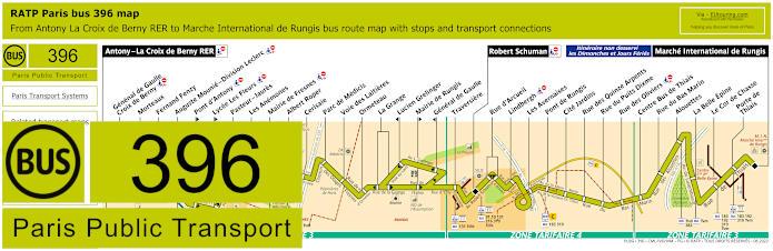 Paris Bus Line 396 Map With Stops