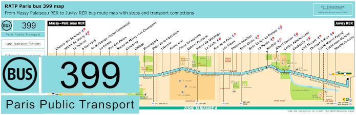 Paris Bus Line 399 Map With Stops
