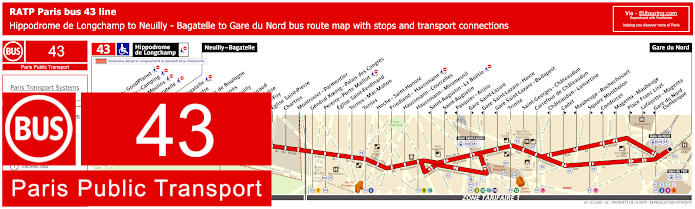 Paris Bus Line 43 Map With Stops