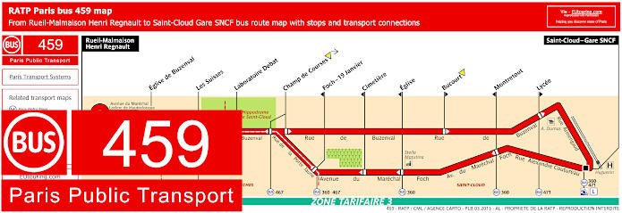 Paris Bus Line 459 Map With Stops