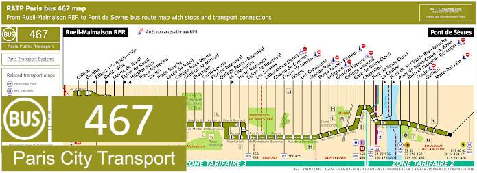 Paris Bus Line 467 Map With Stops