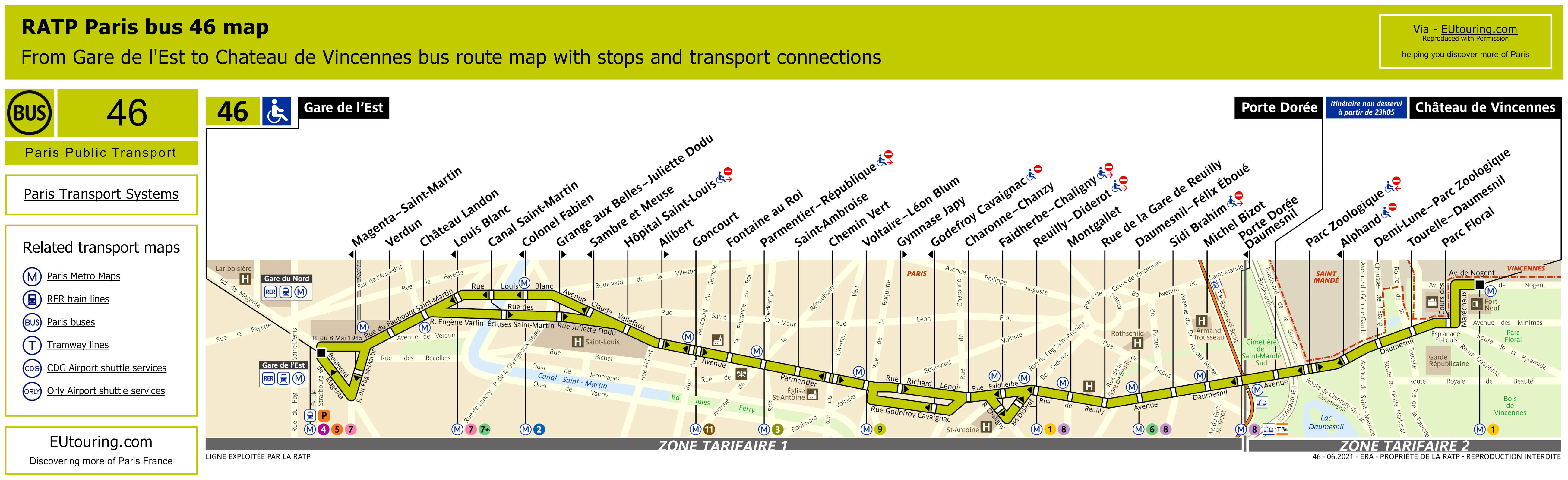 Paris Bus Maps And Timetables For Bus Lines 40 To 49