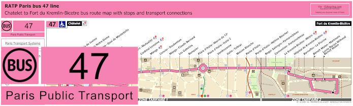 Paris Bus Line 47 Map With Stops