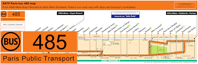 Paris Bus Line 485 Map With Stops