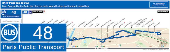 Gard Du Nord Paris Map.Ratp Route Maps For Paris Bus Lines 40 Through To 49