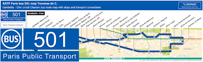 Paris Bus Line 501 Map With Stops