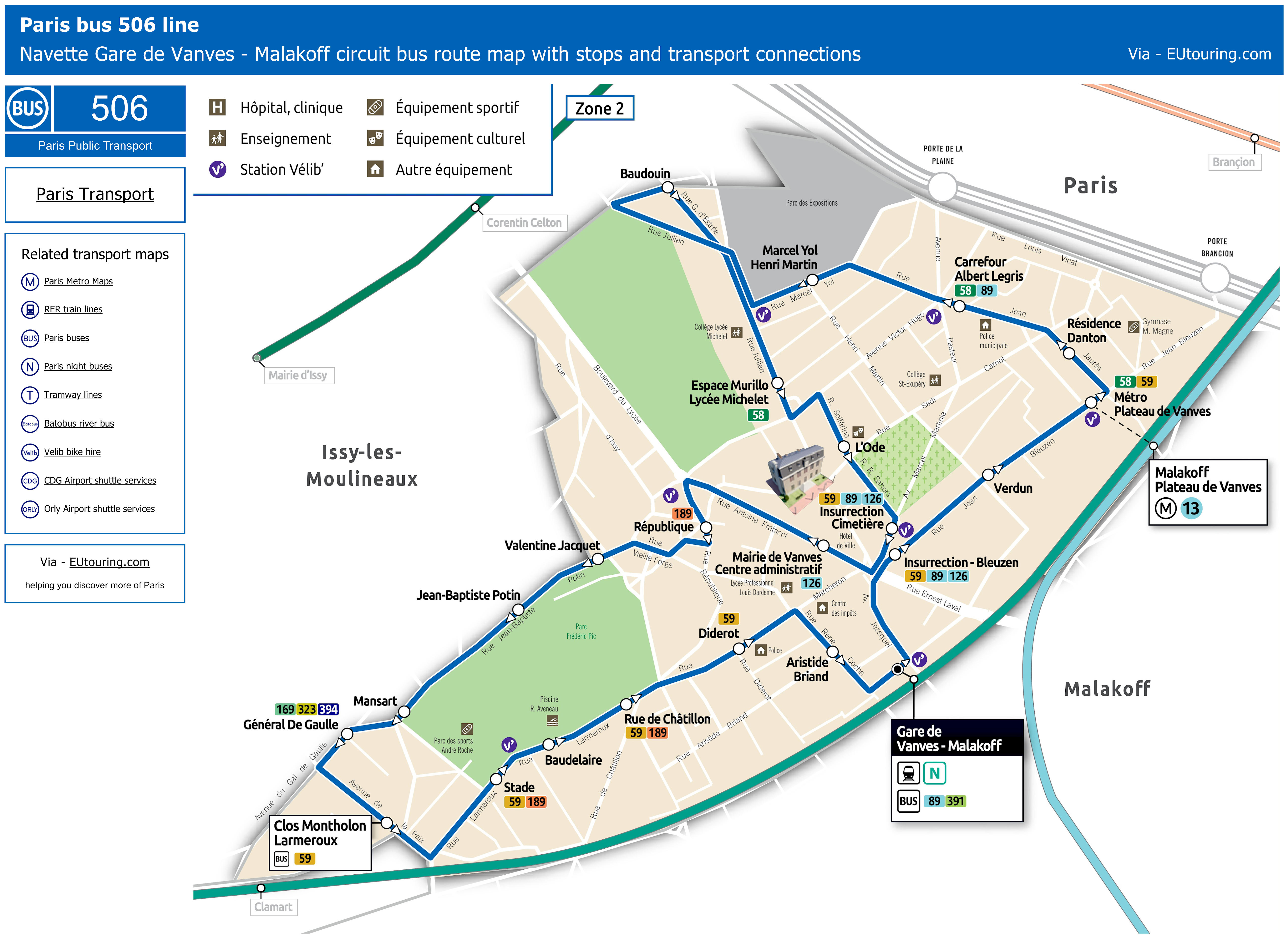 Bus Maps And Timetables For Paris Bus Lines 500 To 509