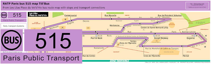 Paris Bus Line 515 Map With Stops