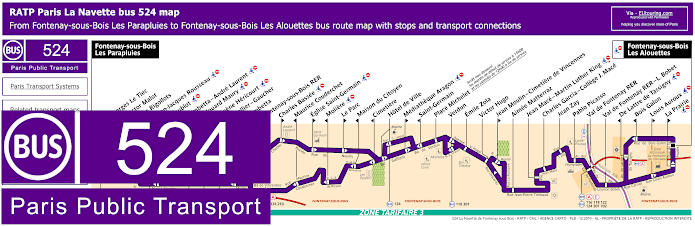 Paris Bus Line 524 Map With Stops