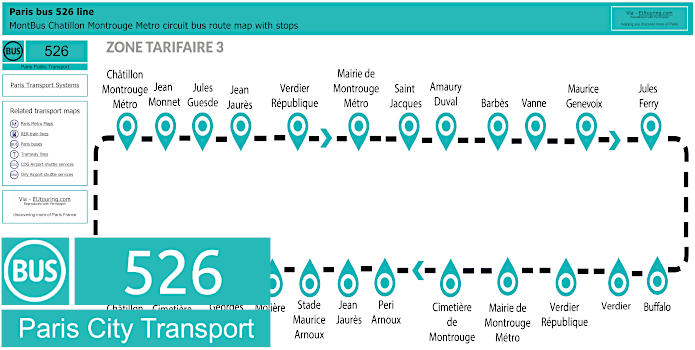 Paris Bus Line 526 Map With Stops