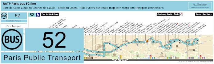 Paris Bus Line 52 Map With Stops