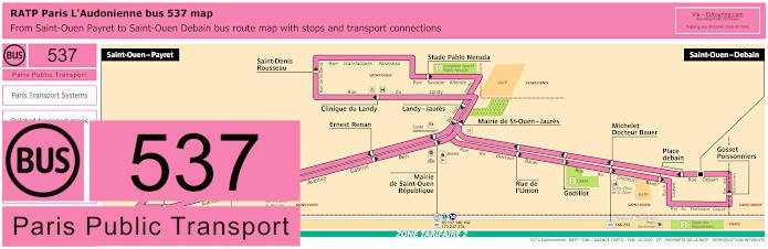 Paris Bus Line 537 Map With Stops