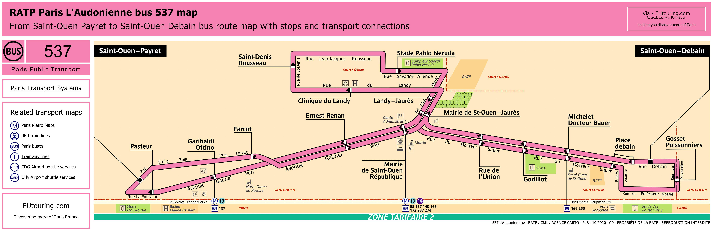 Ratp Bus Maps Timetables For Paris Bus Lines 530 To 539