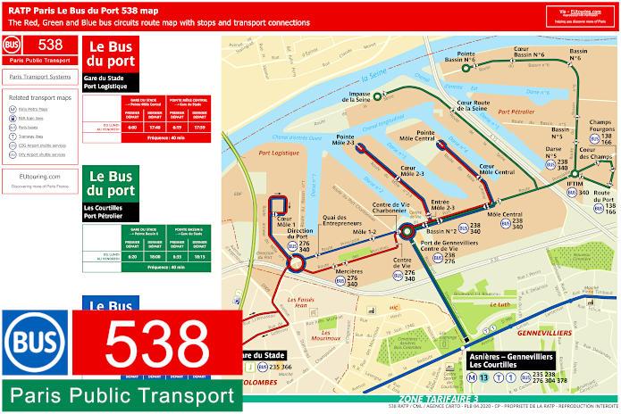 Paris Bus Line 538 Map With Stops
