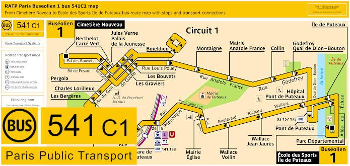 Paris Bus Line 541C1 Map With Stops