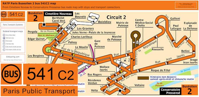 Paris Bus Line 541C2 Map With Stops