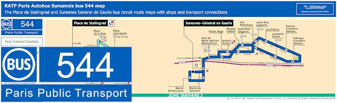 Paris Bus Line 544 Map With Stops