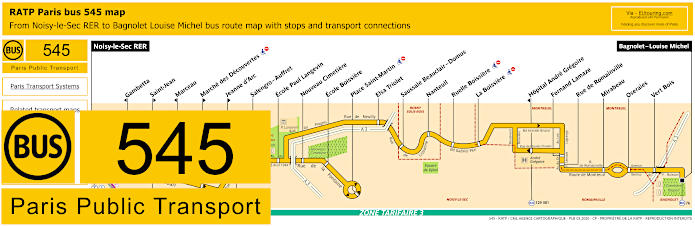Paris Bus Line 545 Map With Stops