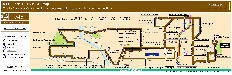 Ratp Bus Maps Timetables For Paris Bus Lines 540 To 549