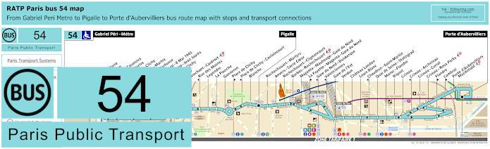 Paris Bus Line 54 Map With Stops