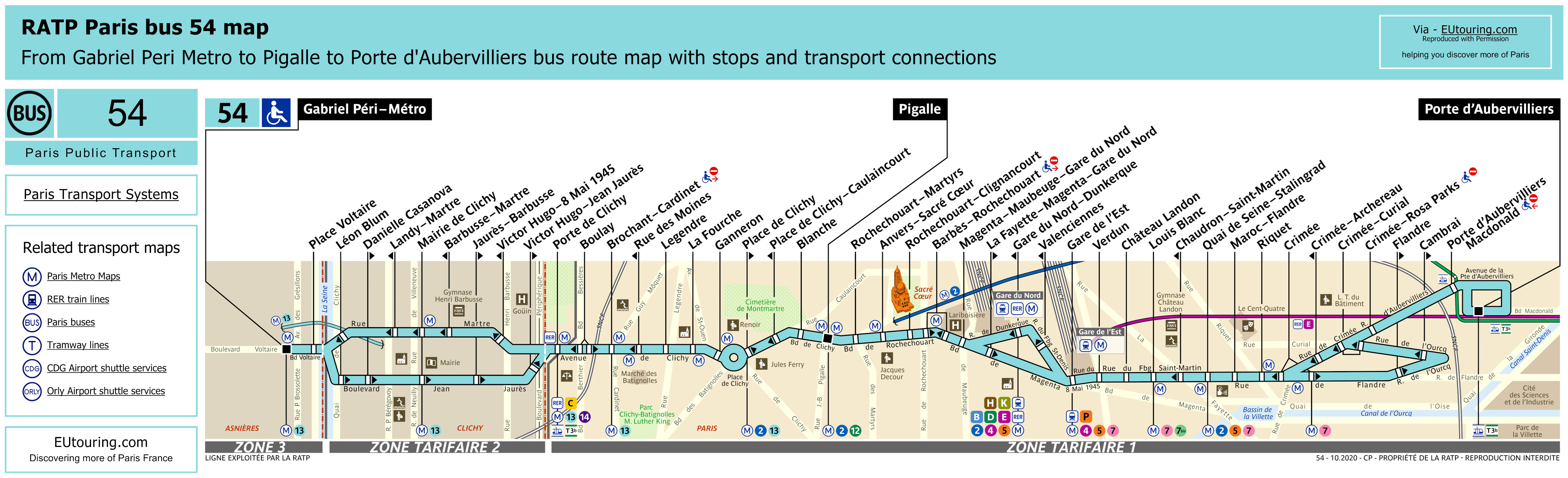 ratp route maps for paris bus lines 50 through to 59