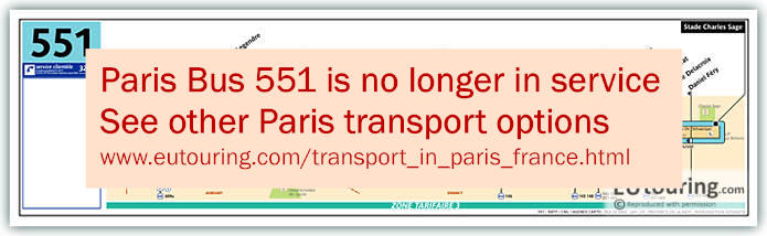 Paris Bus Line 551 Map With Stops