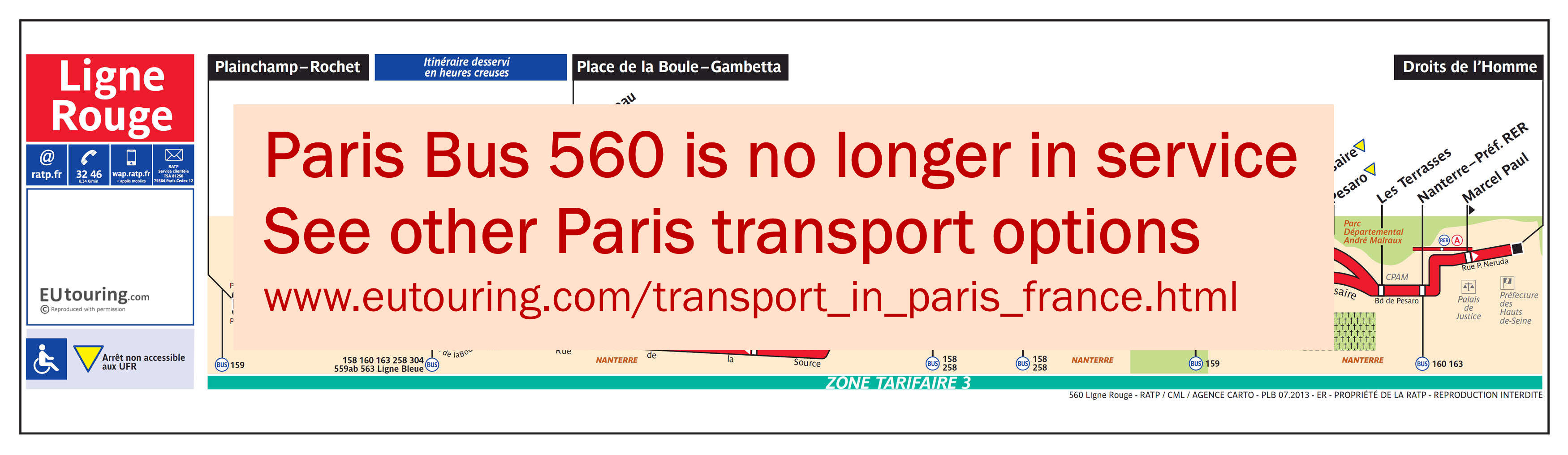 RATP route maps for Paris bus lines 560 through to 569