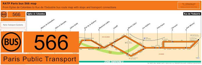 Paris Bus Line 566 Map With Stops
