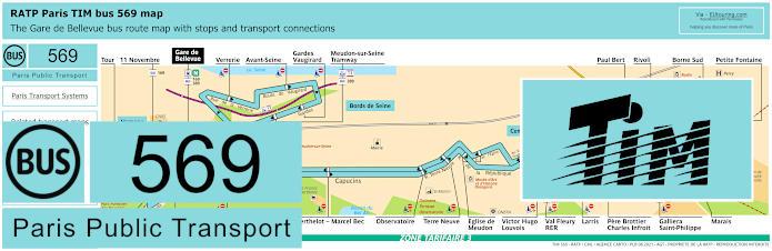 Paris Bus Line 569 Map With Stops