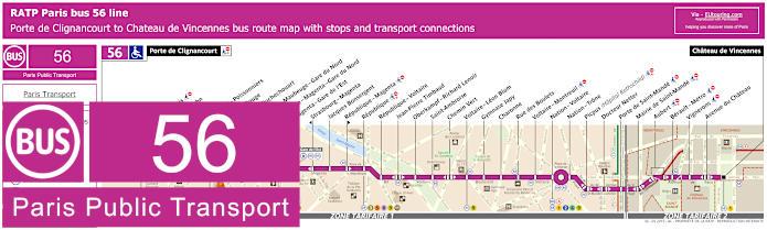 Paris Bus Line 56 Map With Stops